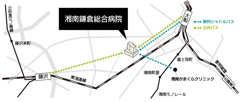 湘南鎌倉総合病院までの地図